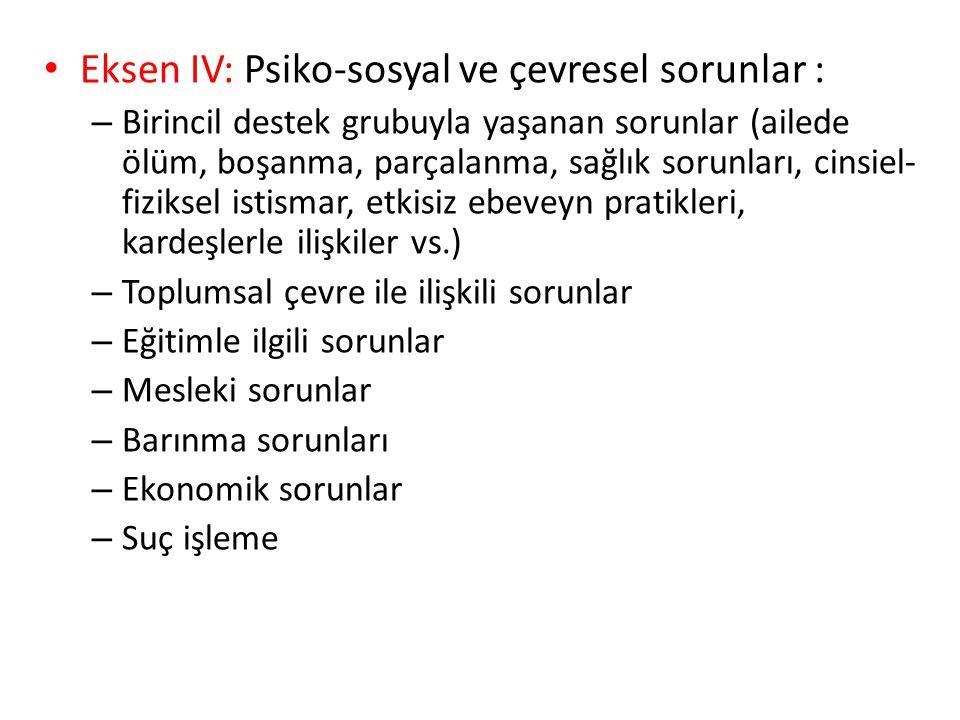 Eksen IV: Psiko-sosyal ve çevresel sorunlar :