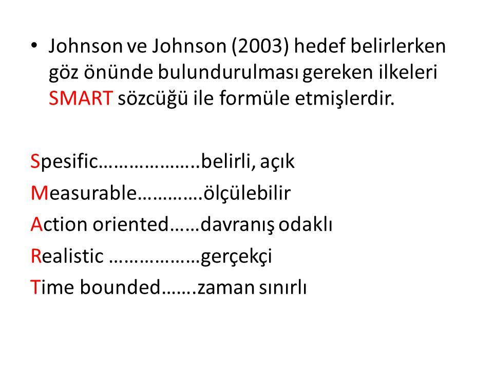 Johnson ve Johnson (2003) hedef belirlerken göz önünde bulundurulması gereken ilkeleri SMART sözcüğü ile formüle etmişlerdir.