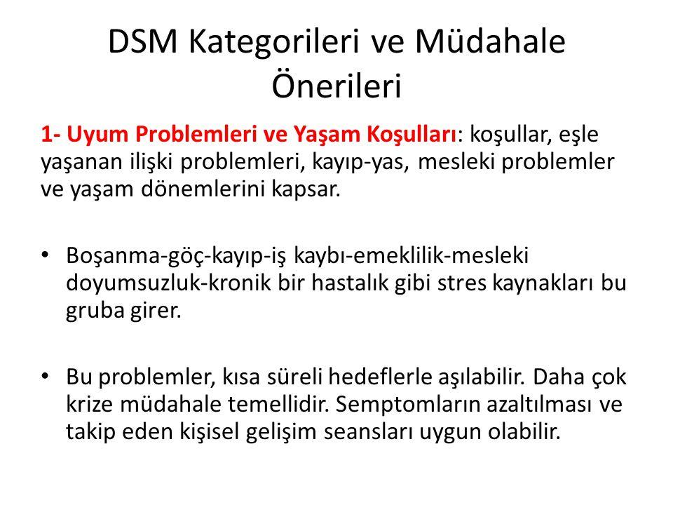 DSM Kategorileri ve Müdahale Önerileri
