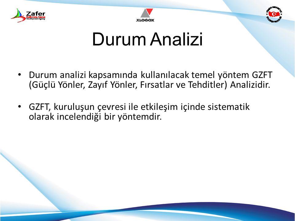 Durum Analizi Durum analizi kapsamında kullanılacak temel yöntem GZFT (Güçlü Yönler, Zayıf Yönler, Fırsatlar ve Tehditler) Analizidir.