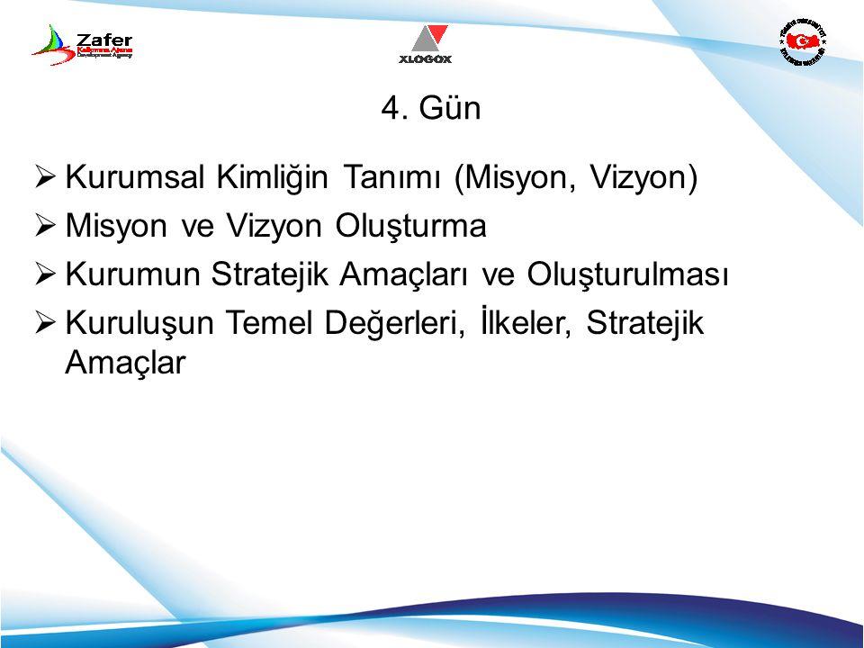 4. Gün Kurumsal Kimliğin Tanımı (Misyon, Vizyon) Misyon ve Vizyon Oluşturma. Kurumun Stratejik Amaçları ve Oluşturulması.