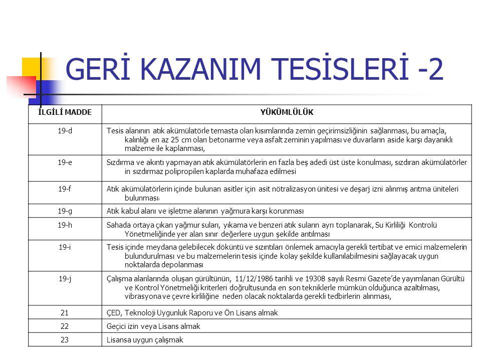 GERİ KAZANIM TESİSLERİ -2