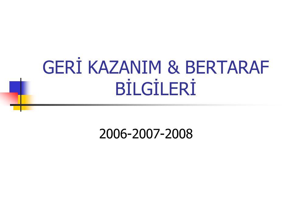 GERİ KAZANIM & BERTARAF BİLGİLERİ