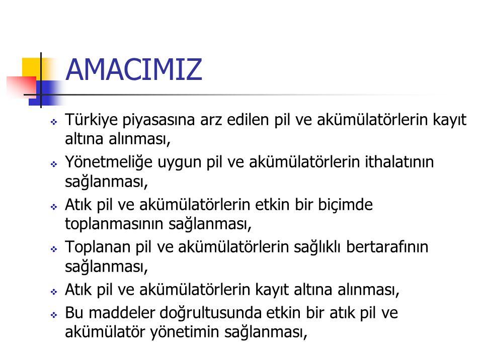 AMACIMIZ Türkiye piyasasına arz edilen pil ve akümülatörlerin kayıt altına alınması,