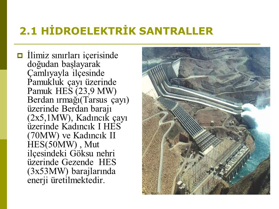 2.1 HİDROELEKTRİK SANTRALLER