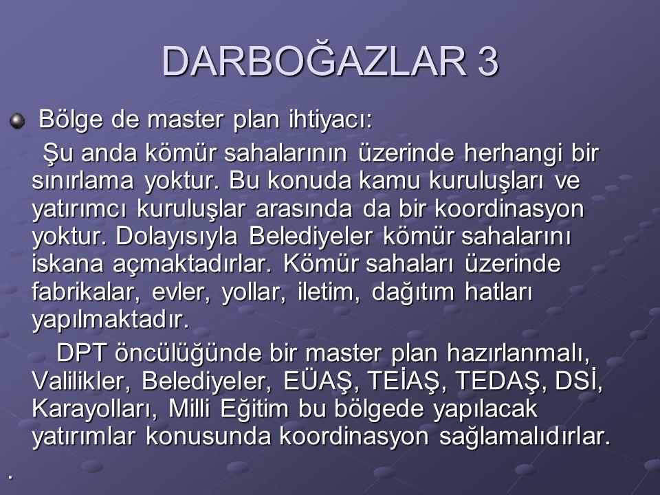 DARBOĞAZLAR 3 Bölge de master plan ihtiyacı: