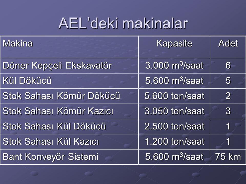 AEL'deki makinalar Makina Kapasite Adet Döner Kepçeli Ekskavatör
