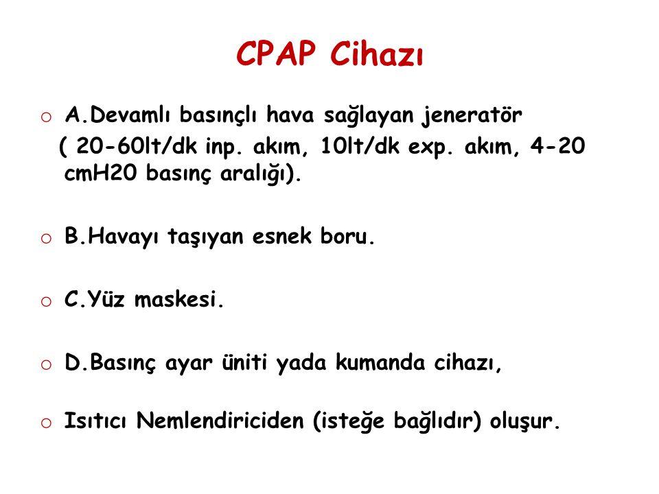 CPAP Cihazı A.Devamlı basınçlı hava sağlayan jeneratör