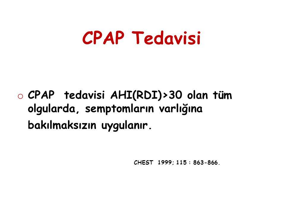 CPAP Tedavisi CPAP tedavisi AHI(RDI)>30 olan tüm olgularda, semptomların varlığına bakılmaksızın uygulanır.