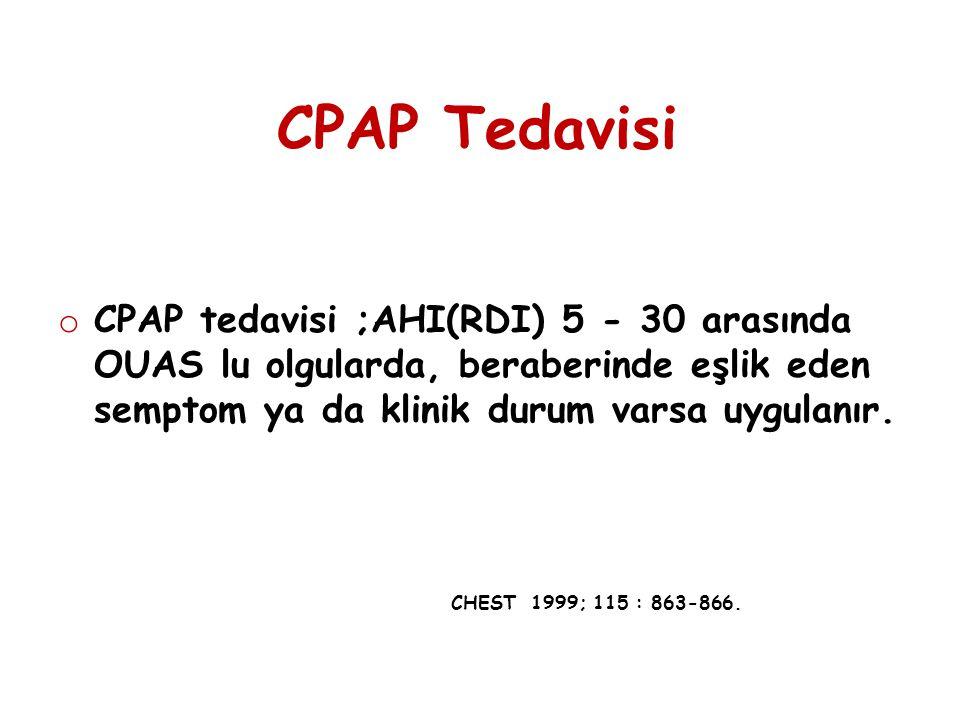 CPAP Tedavisi CPAP tedavisi ;AHI(RDI) 5 - 30 arasında OUAS lu olgularda, beraberinde eşlik eden semptom ya da klinik durum varsa uygulanır.