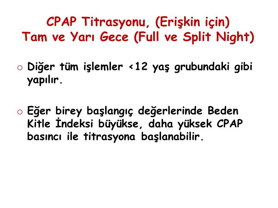 CPAP Titrasyonu, (Erişkin için) Tam ve Yarı Gece (Full ve Split Night)