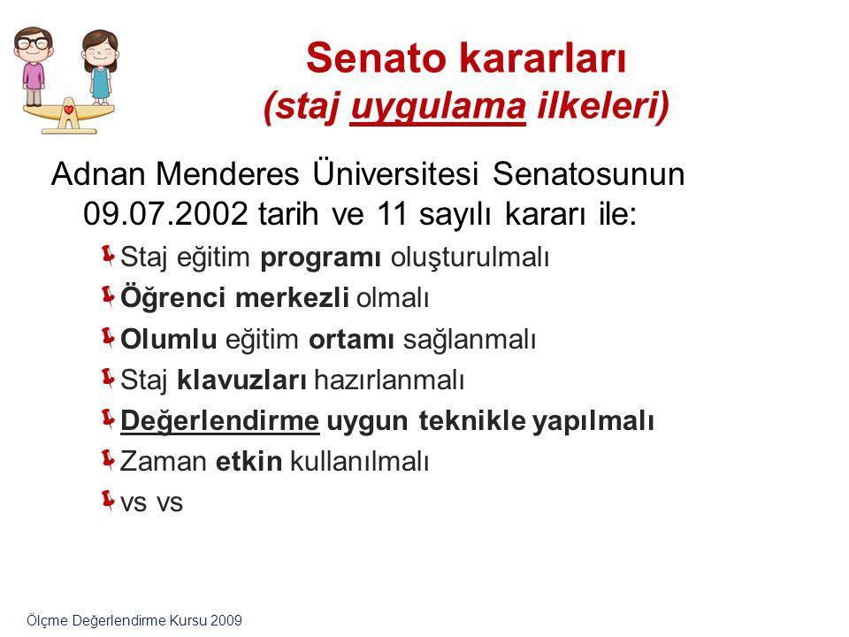 Senato kararları (staj uygulama ilkeleri)