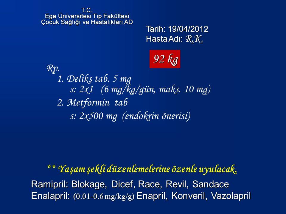 92 kg Rp. 1. Deliks tab. 5 mg s: 2x1 (6 mg/kg/gün, maks. 10 mg)
