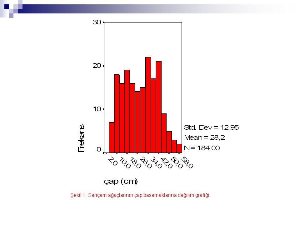 Şekil 1: Sarıçam ağaçlarının çap basamaklarına dağılım grafiği.
