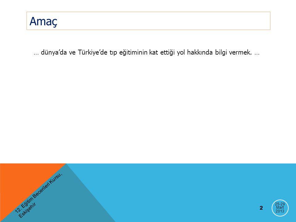 Amaç … dünya'da ve Türkiye'de tıp eğitiminin kat ettiği yol hakkında bilgi vermek. … 12. Eğitim Becerileri Kursu, Eskişehir.