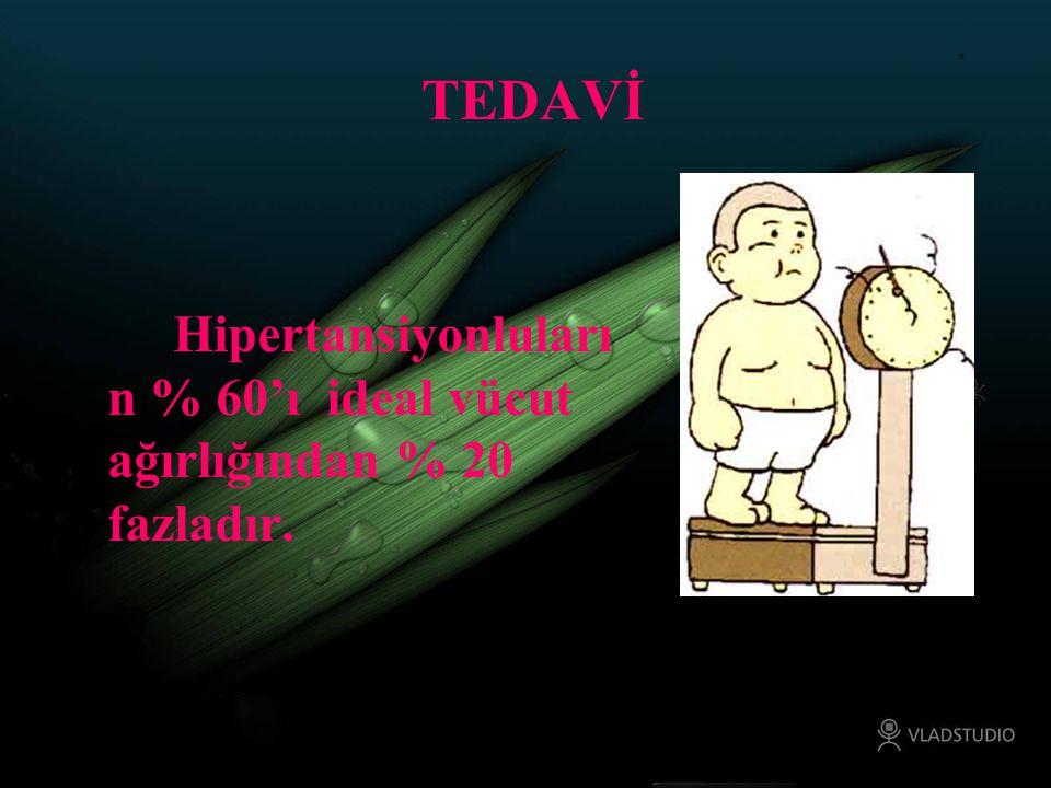TEDAVİ Hipertansiyonluların % 60'ı ideal vücut ağırlığından % 20 fazladır.