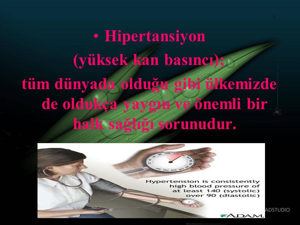 Hipertansiyon (yüksek kan basıncı); tüm dünyada olduğu gibi ülkemizde de oldukça yaygın ve önemli bir halk sağlığı sorunudur.
