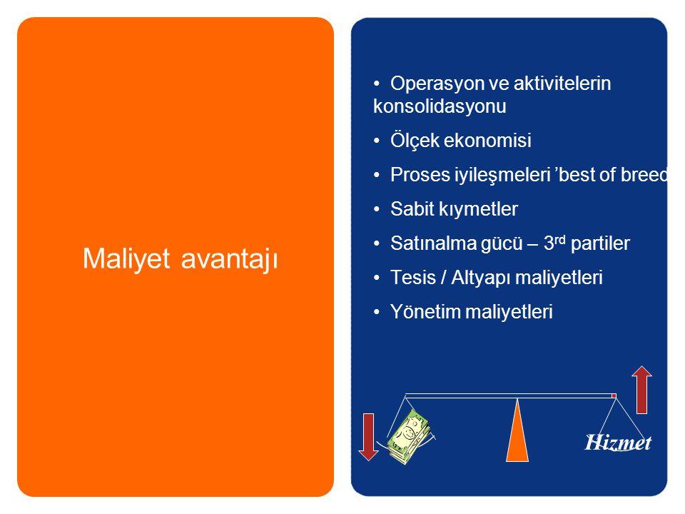 Maliyet avantajı Hizmet Operasyon ve aktivitelerin konsolidasyonu