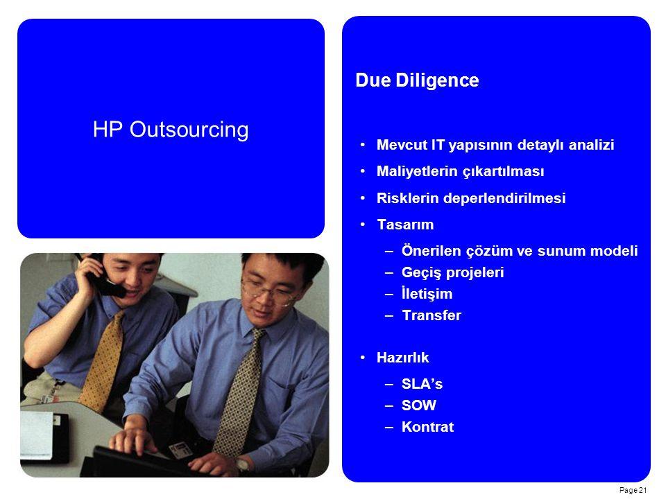 HP Outsourcing Due Diligence Mevcut IT yapısının detaylı analizi