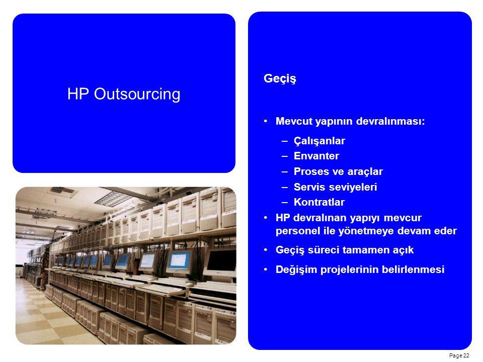 HP Outsourcing Geçiş Mevcut yapının devralınması: Çalışanlar Envanter