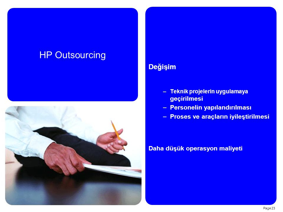 HP Outsourcing Değişim Personelin yapılandırılması