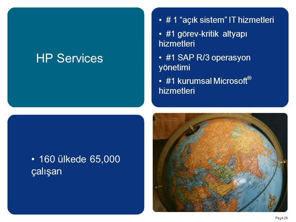 HP Services 160 ülkede 65,000 çalışan # 1 açık sistem IT hizmetleri