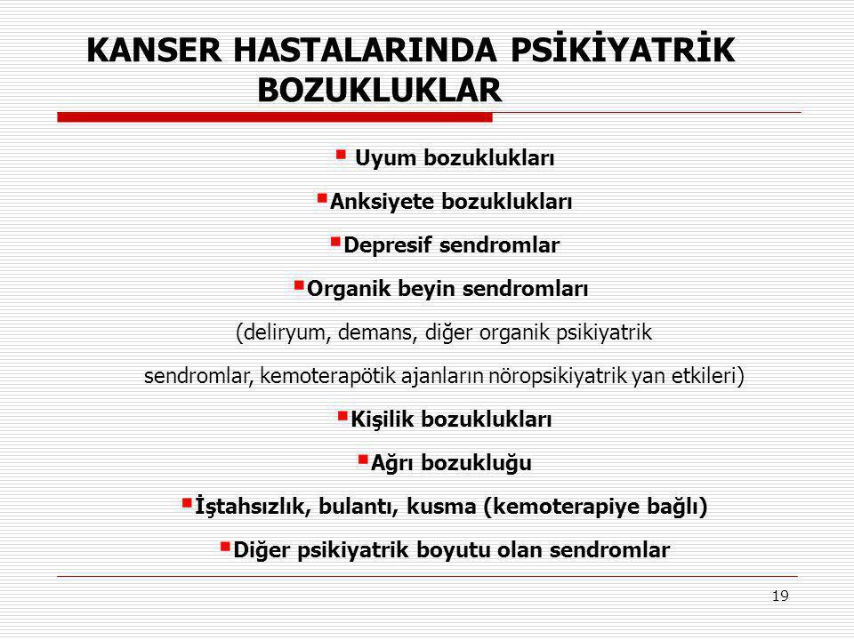 KANSER HASTALARINDA PSİKİYATRİK BOZUKLUKLAR