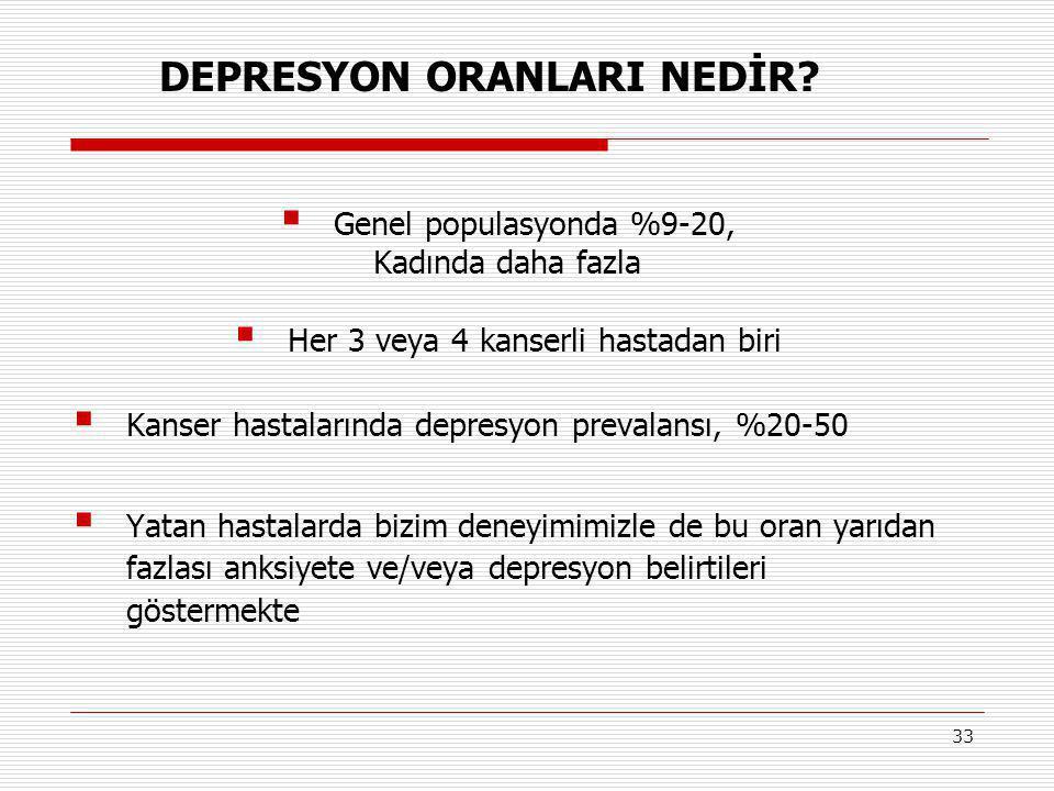 DEPRESYON ORANLARI NEDİR