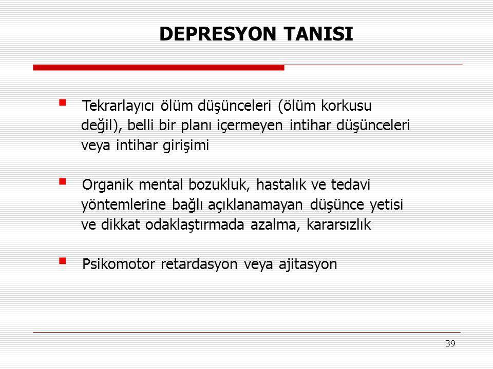 DEPRESYON TANISI Tekrarlayıcı ölüm düşünceleri (ölüm korkusu
