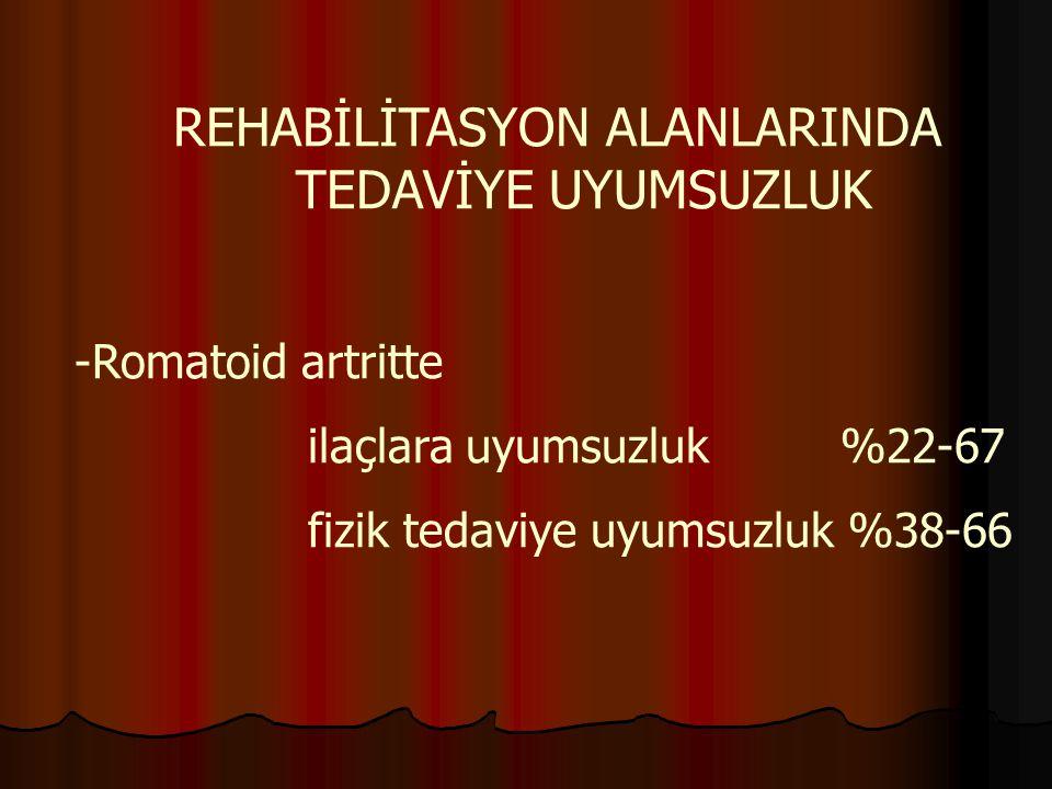 REHABİLİTASYON ALANLARINDA TEDAVİYE UYUMSUZLUK