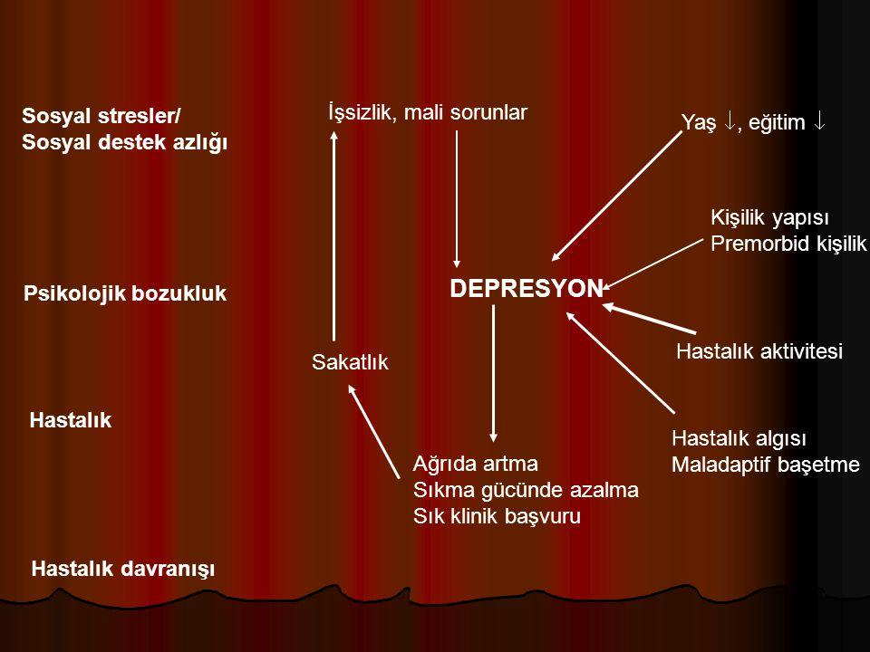 DEPRESYON İşsizlik, mali sorunlar Sosyal stresler/ Yaş , eğitim 