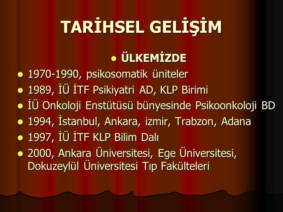 TARİHSEL GELİŞİM ÜLKEMİZDE 1970-1990, psikosomatik üniteler
