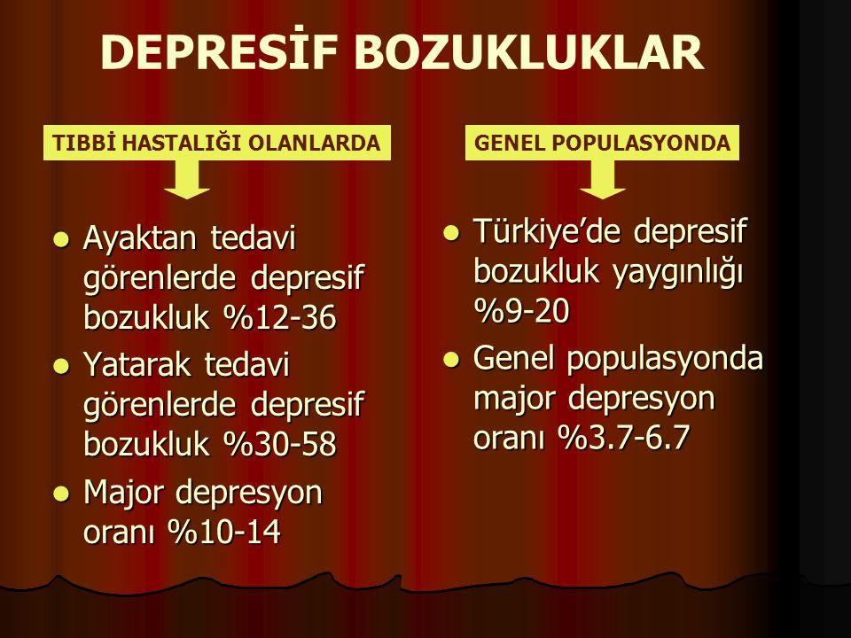 DEPRESİF BOZUKLUKLAR Türkiye'de depresif bozukluk yaygınlığı %9-20