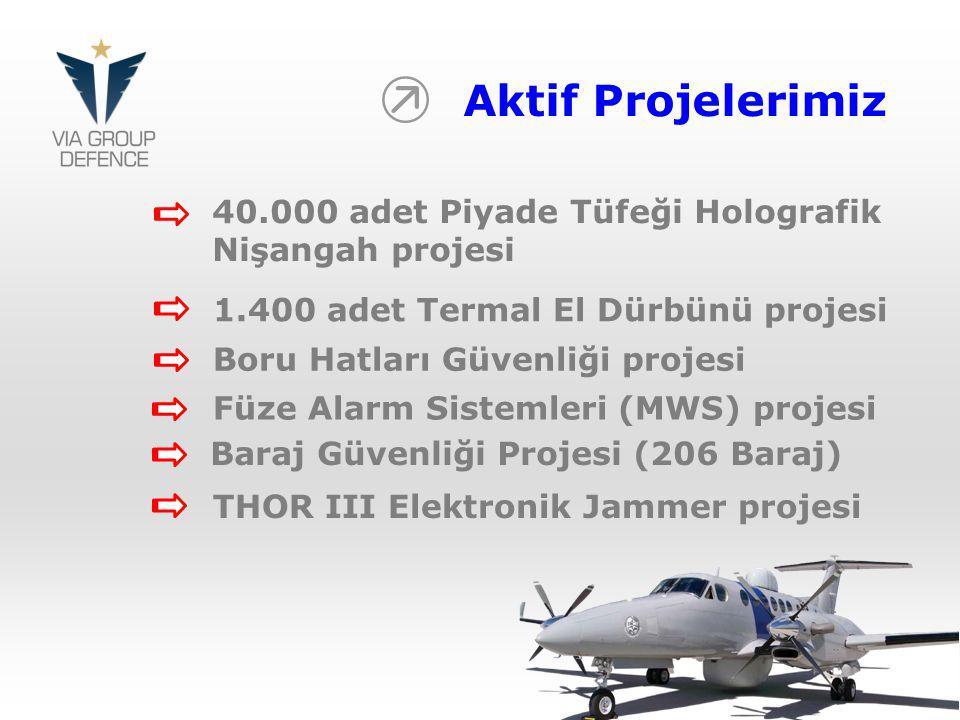 Aktif Projelerimiz 40.000 adet Piyade Tüfeği Holografik Nişangah projesi. 1.400 adet Termal El Dürbünü projesi.