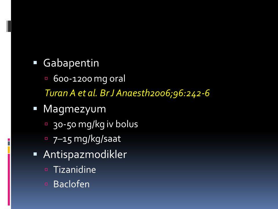 Gabapentin Magmezyum Antispazmodikler 600-1200 mg oral