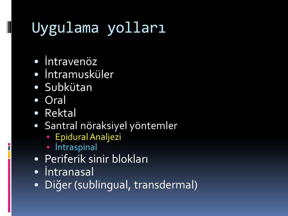 Uygulama yolları İntravenöz İntramusküler Subkütan Oral Rektal