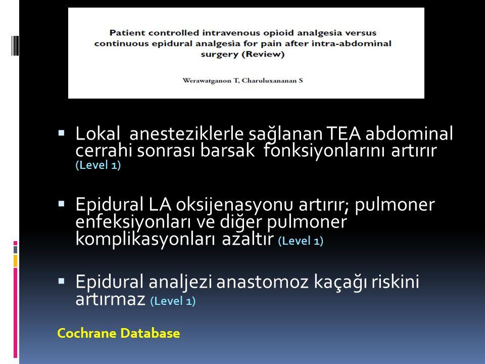 Epidural analjezi anastomoz kaçağı riskini artırmaz (Level 1)