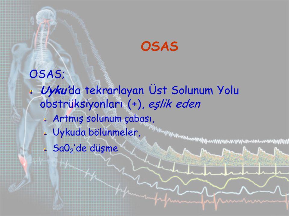 OSAS OSAS; Uyku'da tekrarlayan Üst Solunum Yolu obstrüksiyonları (+), eşlik eden. Artmış solunum çabası,