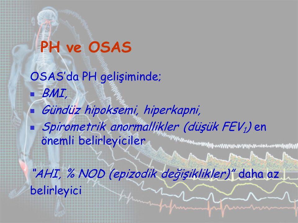 PH ve OSAS OSAS'da PH gelişiminde; BMI, Gündüz hipoksemi, hiperkapni,