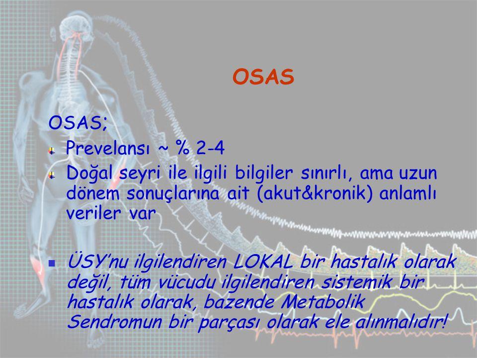 OSAS OSAS; Prevelansı ~ % 2-4