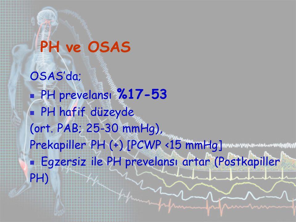 PH ve OSAS OSAS'da; PH prevelansı %17-53 PH hafif düzeyde