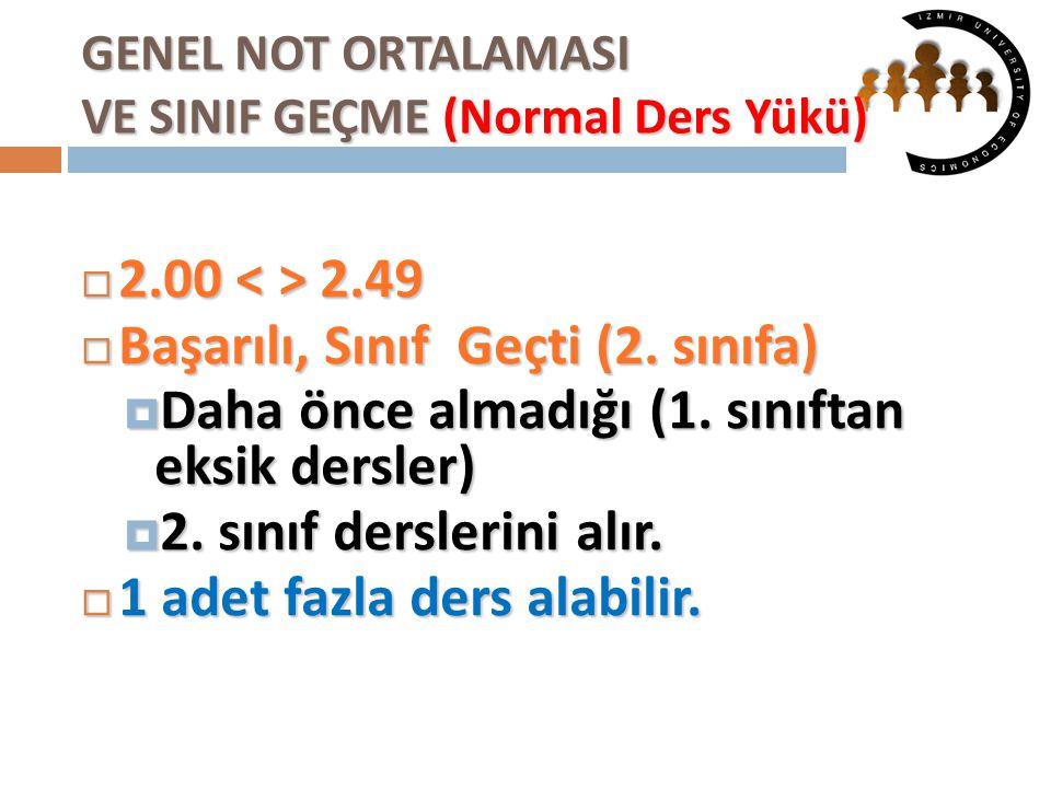 GENEL NOT ORTALAMASI VE SINIF GEÇME (Normal Ders Yükü)