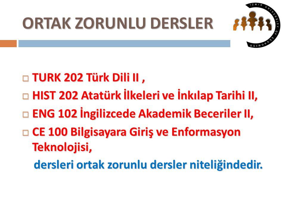 ORTAK ZORUNLU DERSLER TURK 202 Türk Dili II ,