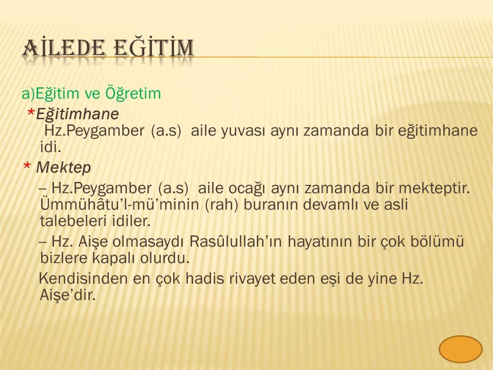 AİLEDE Eğİtİm