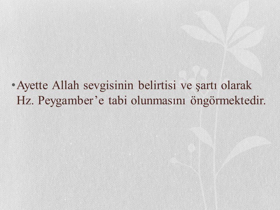 Ayette Allah sevgisinin belirtisi ve şartı olarak Hz. Peygamber'e tabi olunmasını öngörmektedir.