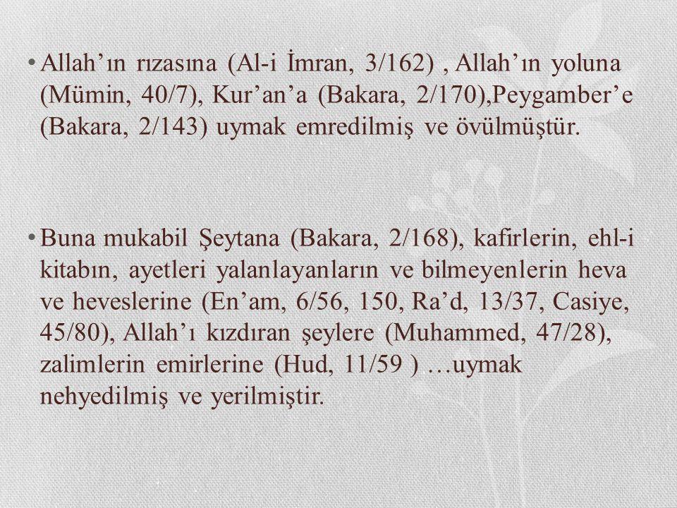 Allah'ın rızasına (Al-i İmran, 3/162) , Allah'ın yoluna (Mümin, 40/7), Kur'an'a (Bakara, 2/170),Peygamber'e (Bakara, 2/143) uymak emredilmiş ve övülmüştür.