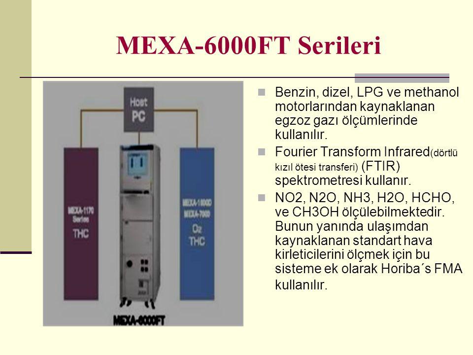 MEXA-6000FT Serileri Benzin, dizel, LPG ve methanol motorlarından kaynaklanan egzoz gazı ölçümlerinde kullanılır.