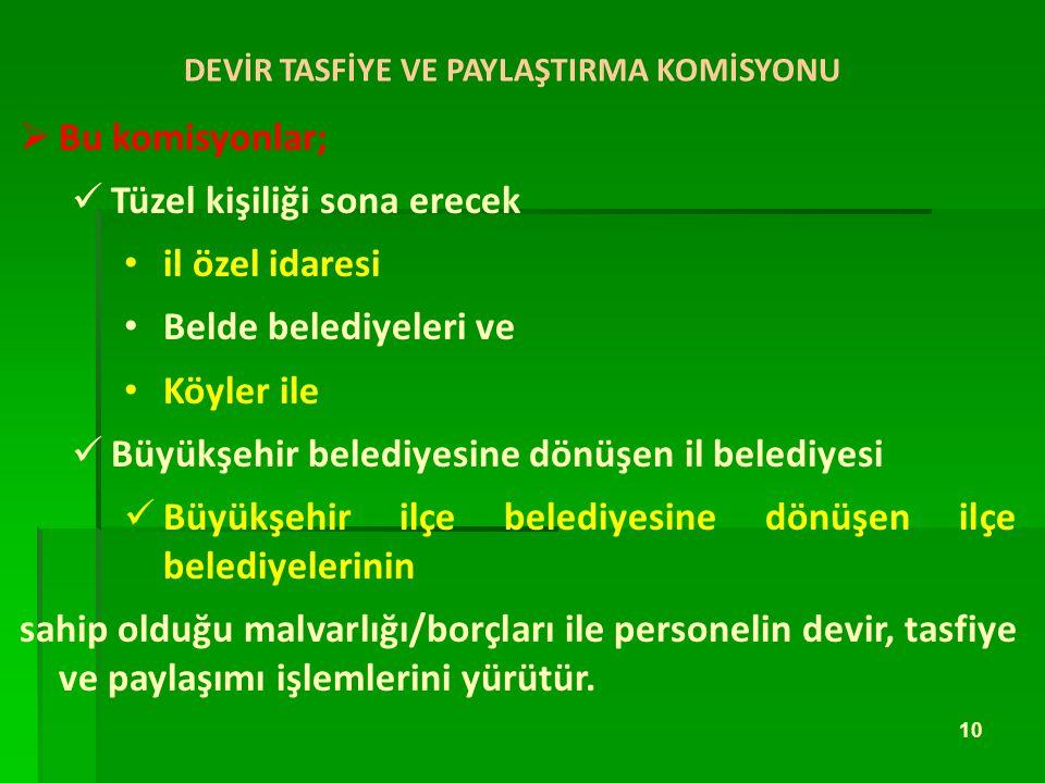 DEVİR TASFİYE VE PAYLAŞTIRMA KOMİSYONU