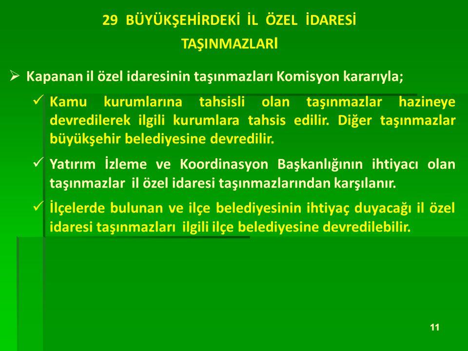 29 BÜYÜKŞEHİRDEKİ İL ÖZEL İDARESİ