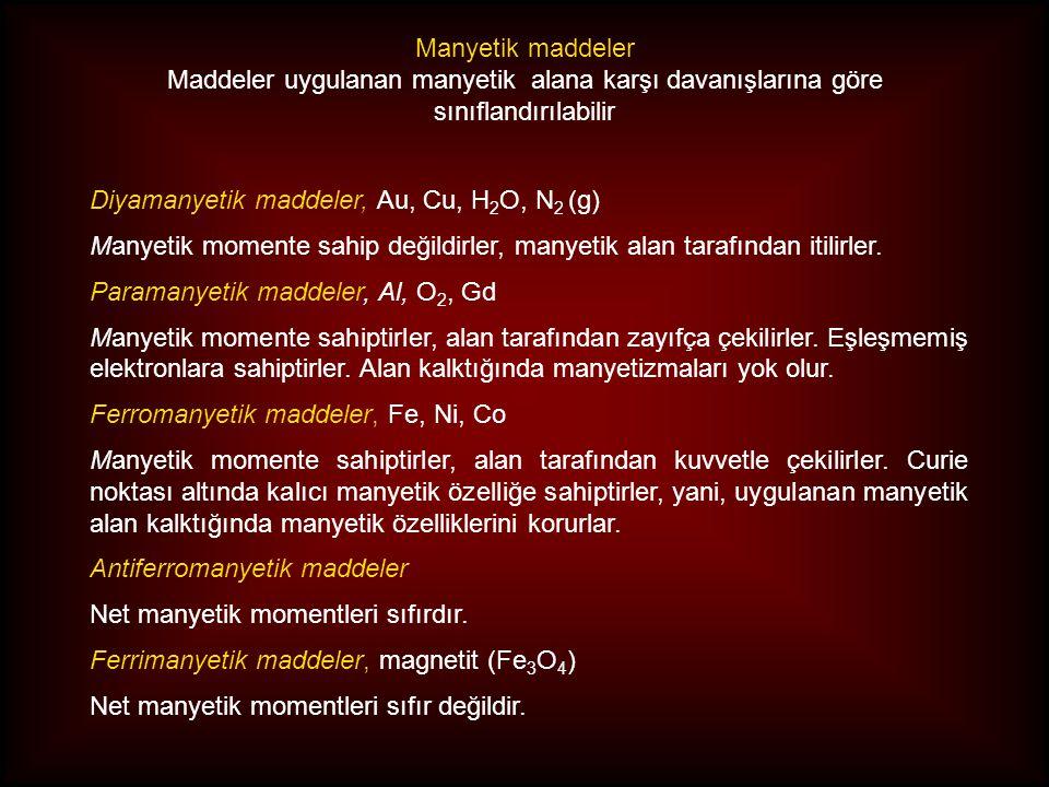 Manyetik maddeler Maddeler uygulanan manyetik alana karşı davanışlarına göre sınıflandırılabilir. Diyamanyetik maddeler, Au, Cu, H2O, N2 (g)